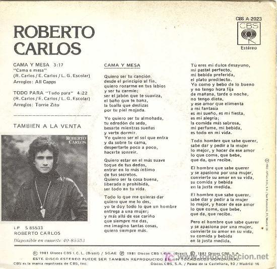 roberto carlos disco promocional cama y mes comprar ForCama Y Mesa Roberto Carlos Letra