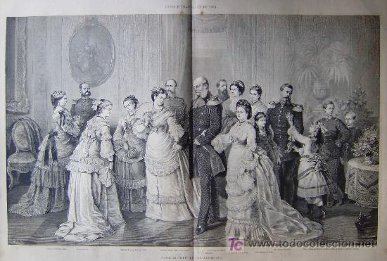 CASAS REINANTES EN EUROPA EN 1877 - LA FAMILIA IMPERIAL DE ALEMANIA.- (Arte - Grabados - Modernos hasta el siglo XIX)