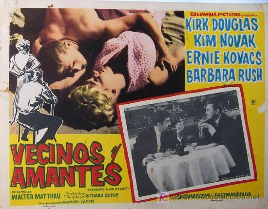 KIM NOVAK - KIRK DOUGLAS - VECINOS Y AMANTES - BARBARA RUSH - MEXICAN LOBBY CARD (Cine - Fotos, Fotocromos y Postales de Películas)