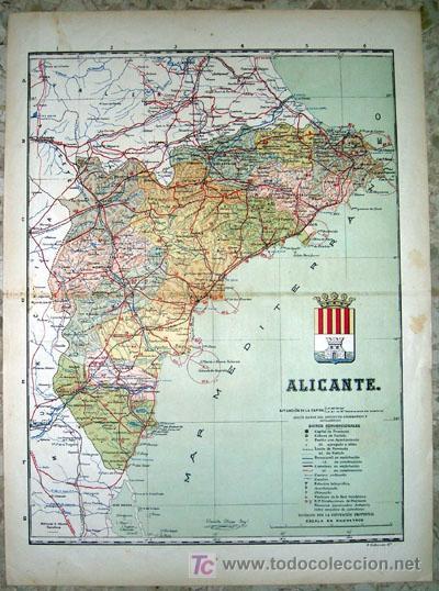 MAPA DE LA PROVINCIA DE ALICANTE (Principios 1900) (Papel - Mapas - Mapas actuales (desde siglo XIX))