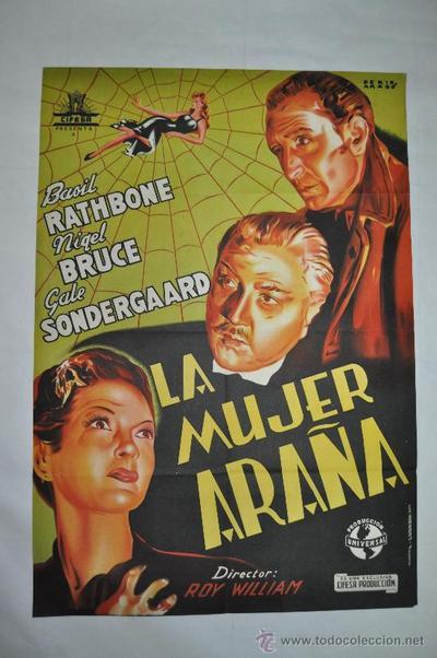 Cartel de Sherlock Holmes y la mujer araña