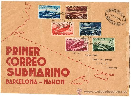 Sellos del primer correo submarino